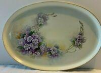 Vintage M & Z Austria Hand Painted Purple Floral Oval Platter EUC