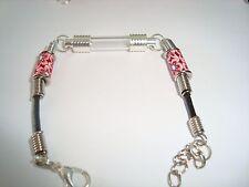 """Custom made Name on Rice Bracelet with tube vial & red flower beads adj 6.5-7.5"""""""