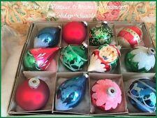Box Large Vintage Glass Xmas Tree Ornaments Poland & USA Glitter Rocking Horses