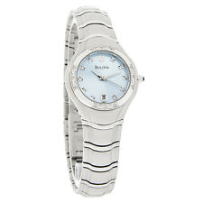 Bulova Maestro Diamond Ladies Ss Blue Dial Watch 96R02
