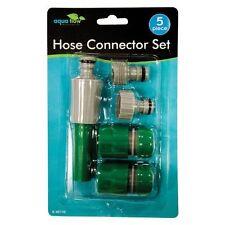 5 Piece Garden Hose Connector Set Tap Nozzle Quick Fit