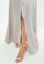 NEW - GORGEOUS MISSGUIDED - Silver Wrap Maxi Skirt - Size: 16