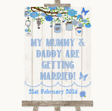 Wedding Sign Poster Print Blue Rustic Wood Mummy Daddy Getting Married