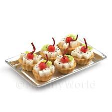 6 Suelto Miniatura Para Casa De Muñecas dragón fruta Pasteles en una bandeja