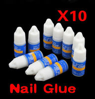 10 X 3g Nail Art Glue Strong Adhesive Acrylic False Tips Rhinestones Glitters