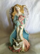 """Vintage Collectible Candle Holder Decoration Angel With Doves Heavy Resin 7"""" H"""