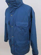Vintage Woolrich Men's Cotton Nylon Solid Blue Winter Coat Full Zip Jacket USA