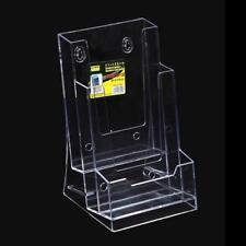 Clear Tri-Fold Brochure Business Card Holder Desk Stand Pamphlet Display Kit