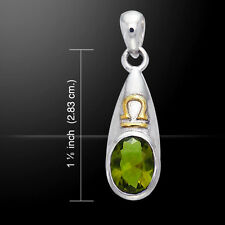 Peridot Gemstone Libra .925 Sterling Silver Pendant 14k gold accents Peter Stone