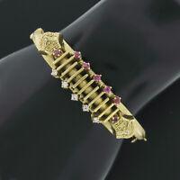 Victorian Revival 14k Gold 0.65ctw Ruby Diamond Detailed Hinged Bangle Bracelet