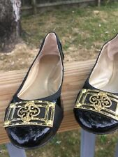 ISOLA Black Patent Leather Gold Detail Britt II Ballet Flats  Sz 4