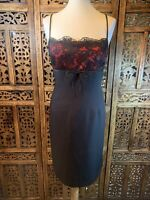 Wallis Black and Red Strappy Party Dress Size 16 B4