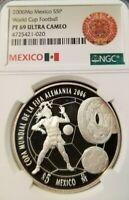 2006 MEXICO SILVER 5 PESOS WORLD CUP FOOTBAL NGC PF 69 ULTRA CAMEO TOP POP !!!