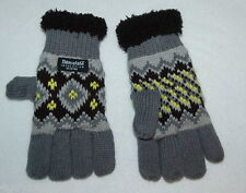 TODDLER GIRLS WINTER GLOVES Black Gray Yellow KNIT SHERPA Thinsulate WARM  S-M