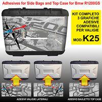 Kit 3 adesivi borse valigie BMW R1200GS K25 bussola rosa dei venti fino al 2012