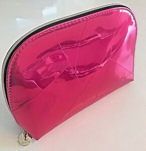 YSL Yves Saint Laurent Bright Pink Metalic Pouch Makeup Cosmetic Bag Clutch