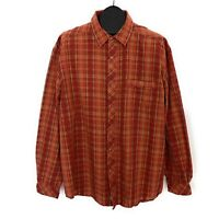 REI Mens Pearl Snap Front Shirt Size XL Rust Red Brown Plaid Long Sleeve Western