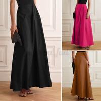 ZANZEA UK Womens Holiday Casual Skirts Long Maxi A Line Party Dress Basic Plus