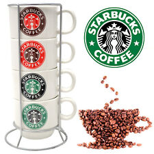 SET OF 4 STARBUCKS COFFEE TEA MUGS WITH STAND LATTE CERAMIC CUP ESPRESSO GIFT