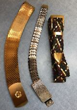 2 Womans Vintage 1 silver, 1 gold Metal Snake Fish Scale Belt Mesh Stretch Disco