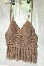 Soft Taupe Tan Brown Handmade Crochet Fringe Crop Top Sz Medium Large C Cup