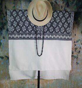 Huipil Black & Cream Handwoven Back Strap Loom Mayan Larrainzar Chiapas Mexico