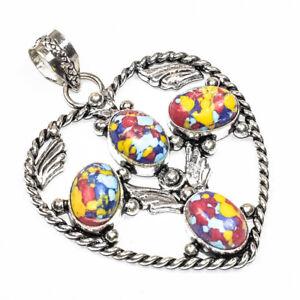 Rainbow Mosaic Jasper 925 Sterling Silver Jewelry Pendant