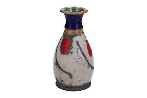 Studio Pottery Multicoloured Raku Vase White Red Blue