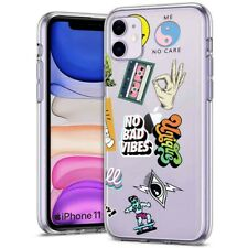 Thin Gel Phone Case Apple iPhone 11,XS,XR,8 Series,Rad Stickers Collage Print