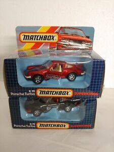 Vintage Matchbox K-70 SuperKings Porsche Turbo 2x Lot w/ Rare Burgundy Model