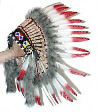 Indianer Kopfschmuck Federhaube echte Federn WEISS rote Spitzen Fasching