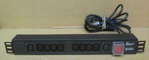 """Horizontal 19"""" 1.5U 10x IEC C13 Slots 3250W 13A PDU 3m Cable HIEC/10 13A"""