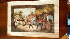 "Vintage Currier & Ives Black Americana Print ""The Old Barn Floor"" PLUS 2 MORE"