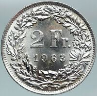 1963 SWITZERLAND - SILVER 2 Francs Coin HELVETIA Symbolizes SWISS Nation i88343