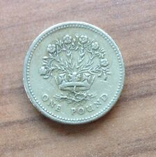 FLAX PLANT & CROWN £1 ROUND ONE POUND 1986 - ROYAL DIADEM REPRESENTING N IRELAND