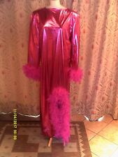 Drag Queen Pink foil LONG  dress Pink feathers 18/20