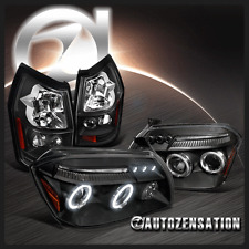 05-07 Dodge Magnum Black Dual Halo LED Projector Headlights+Tail Brake Lamps