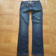 True Religion Womens Jeans Sz 26 Stretch Straight Low Rise Distress Long Fall