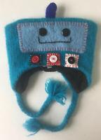 deLux ROBOT HAT knit computer monster ski cap Child costume blue aqua lined wool
