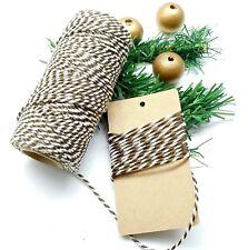 50 m Baker's Twine ficelle coton satinée bronze blanc 2 mm 2 brins