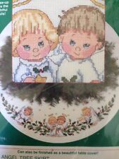 Sunset HOLLY ANGEL TREE SKIRT Christmas Counted Cross Stitch Kit - sealed