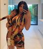 NEW KYLIE Jenner tie-dye dress MINI BODYCON DRESS ONE SLEEVE RUCHED MINI DRESS