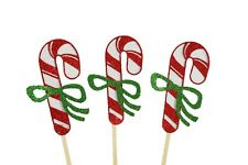 "Glitter CANDY CANE Design 2-1/2"" Cupcake Toppers CHOOSE Package Amount"