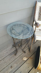 Vtg Metal  Plant Stand/Table Folding w/Glass Top FREE SHIP US