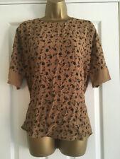 NEXT Ladies Black Tan Floral Short Sleeved Top Size 14