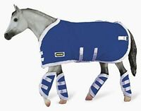 Breyer Tack Blanket and Shipping Boots Blue Quilted with White Trim 3947