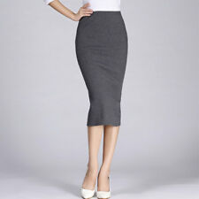 Winter Women Pencil Skirt Cotton Stretch Elastic Office OL Split Bodycon Skirt