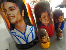 Michael Jackson   handmade  wood  russian nesting doll 5 pcs 7 inches