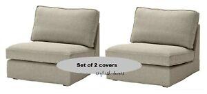 IKEA KIVIK 1 Seat Sofa Covers Teno Light Gray Set of Two Chair Slipcovers - NEW