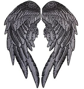 """Angel Wings Patch Black   Festival Feather Patches   Embroidered Iron On   12"""""""